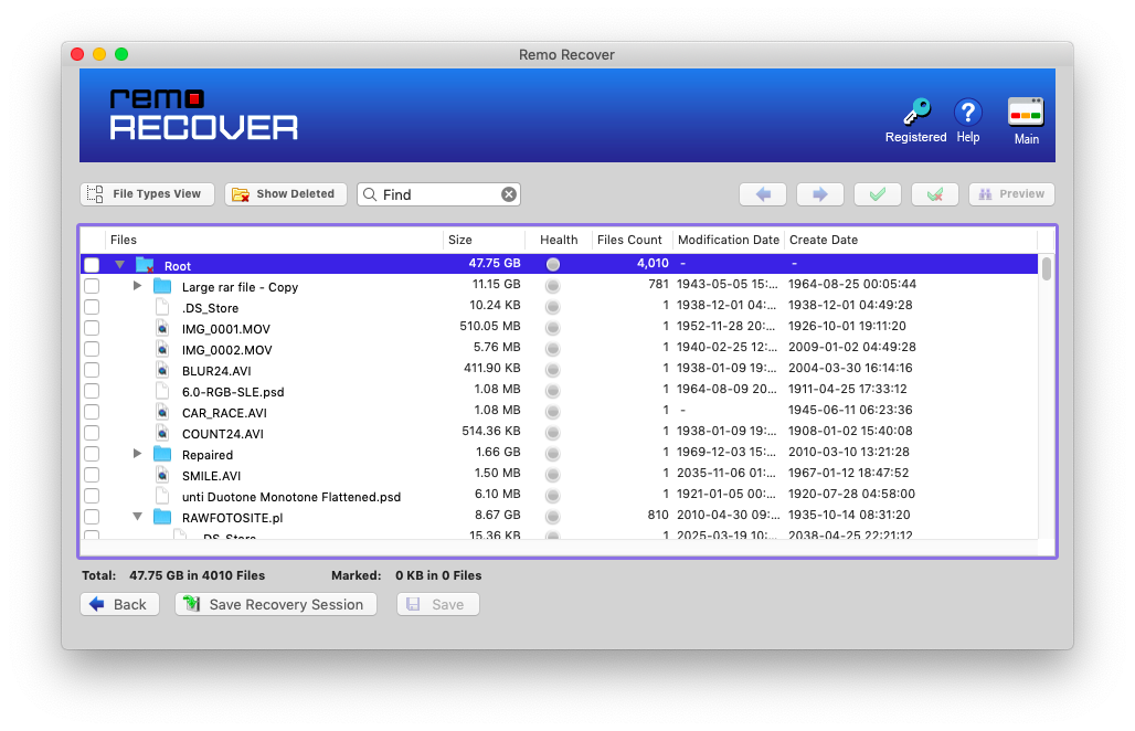recovered files will be displayed in data view and file type view