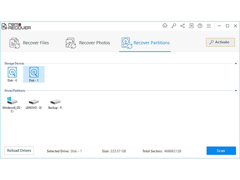 Remo Recover Windows Pro Edition full screenshot