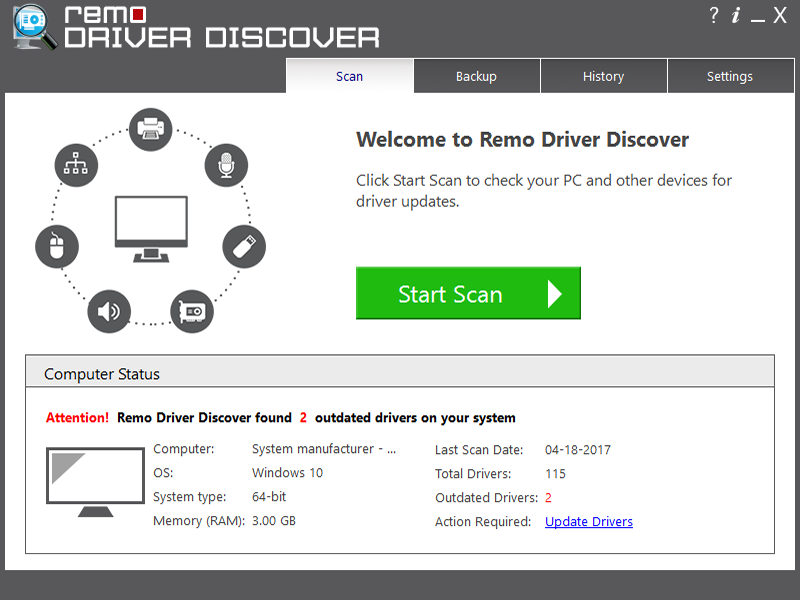 Remo Driver Discover full screenshot