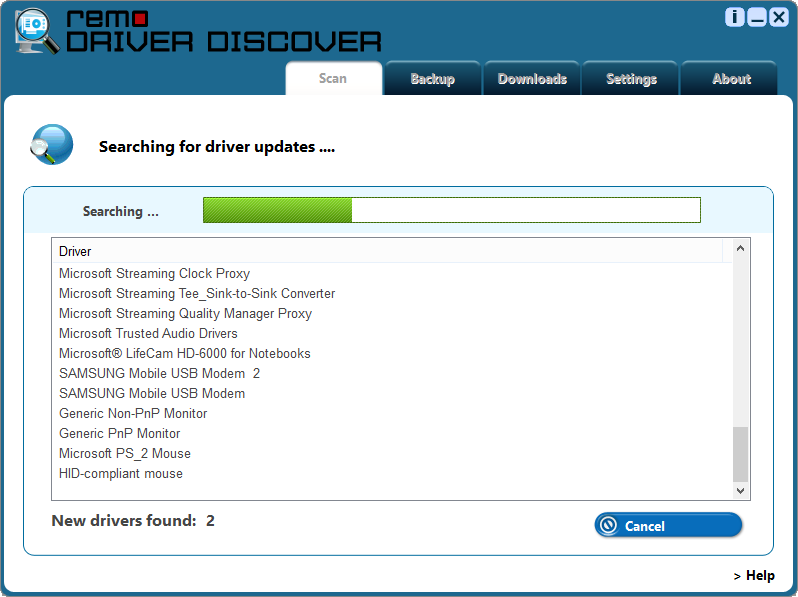 Driver Download - Scanning Status