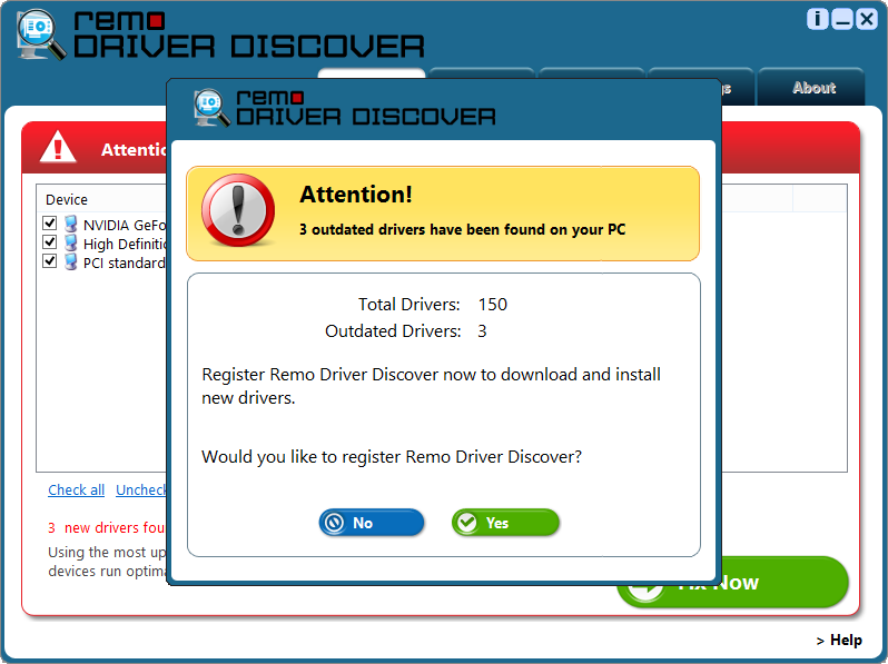 "Driver Download - Select ""Yes"