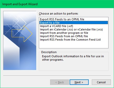 click on export data file to backup Outlook 365 data