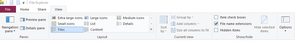 go to file explorer and click on view