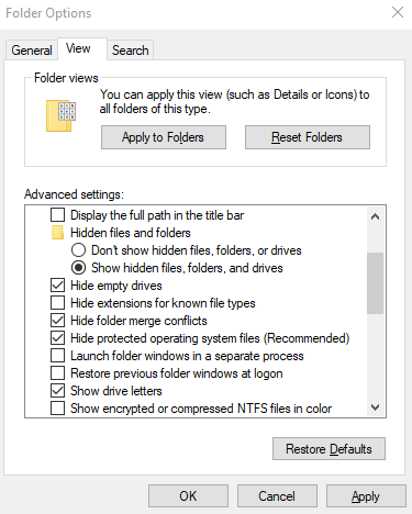 under view check show hidden files, folders and drives box