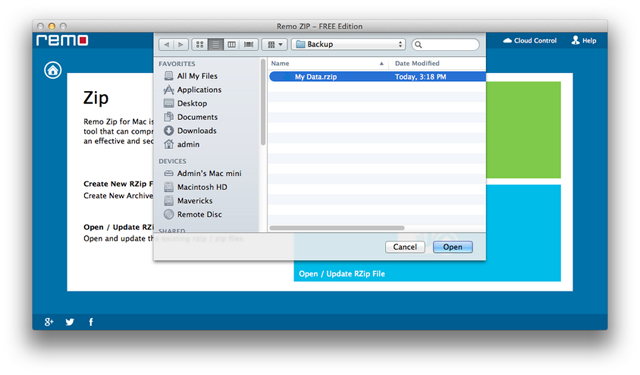 Open/Update New RZip File   Manage - Remo MORE Mac - Help Manual