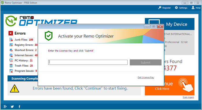 fix-it disk optimizer registration key