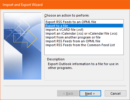 click on export to file