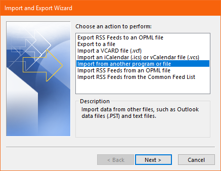 import from another program orfile