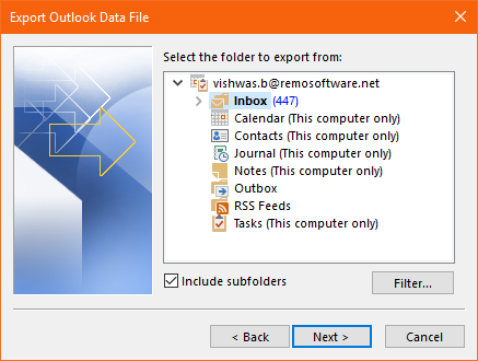select the outlook folders you want to export