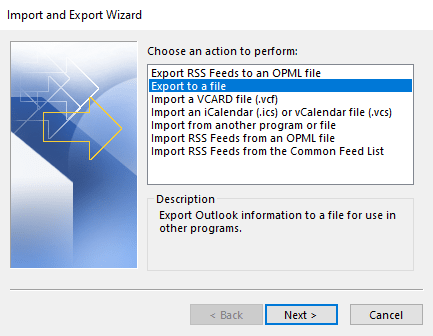 Select Export to a File option to backup PST file