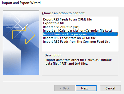 import and export wizard to move outlook contacts