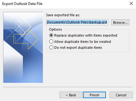 Save Backup PST file in a desired location
