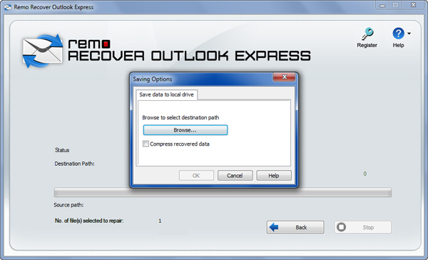 Select Outlook Express dbx file
