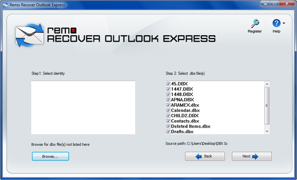 Outlook Express recovery Main Window