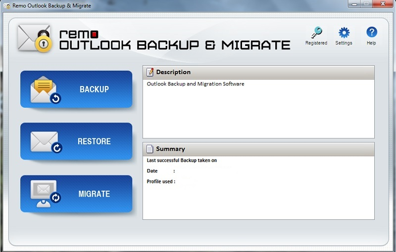 Remo Outlook Backup & Migrate Screen shot