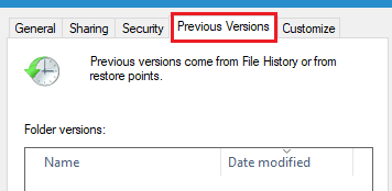 restore deleted folders from previous versions