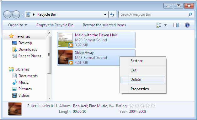 Remove files from Recycle Bin