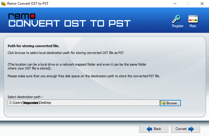 ost to pst save screen