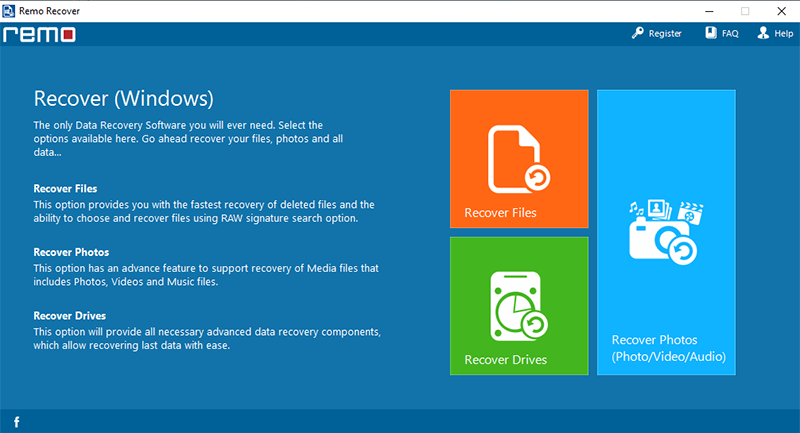 Recover data using Remo Recover (Windows) Pro