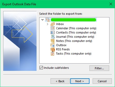 select the folders that you want to backup from your Outlook 365