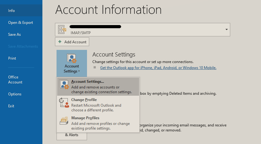 select account setting option to fix Outlook profile