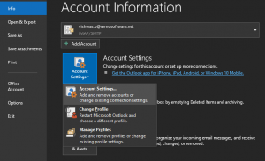 open outlook and go to account settings