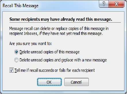 Recall outlook message