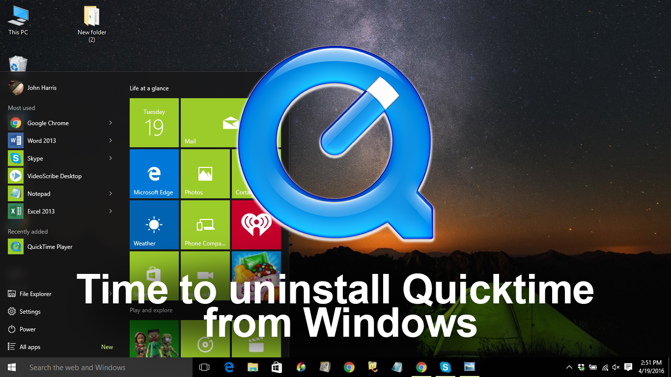 how to uninstall quicktime for windows