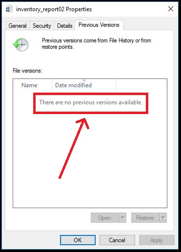 recover older versions of existing file windows 10