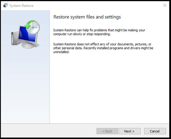 system restore 6