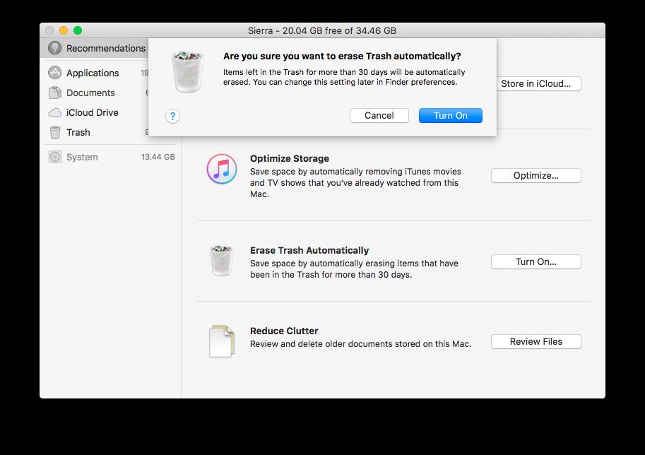Optimized Storage in MacOS Sierra