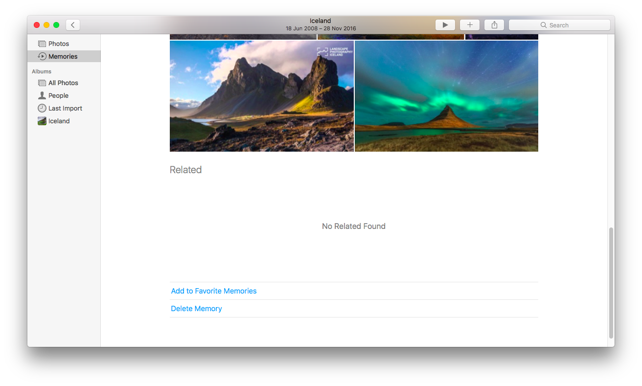 photos memories in macos sierra