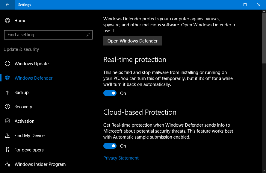 using windows 10 defender