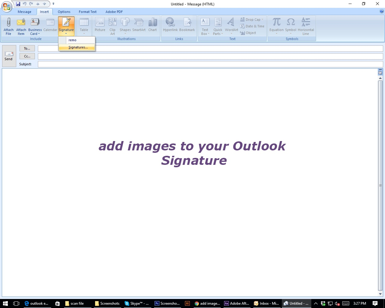 Insert an Animation or Graphic to Your Outlook Signature