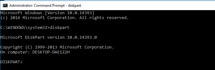diskpart command