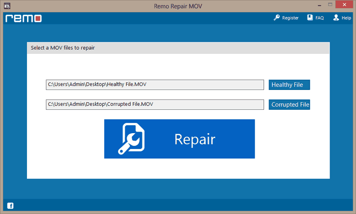 select the corrupt MOV file along with a healthy MOV file to start the repair process