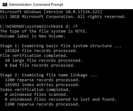 correcting CRC errors using chkdsk