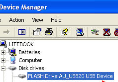 Under device manager locate the USB stick