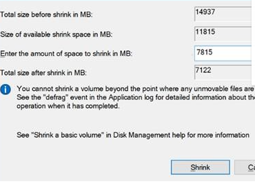 Click on Shrink to compress the USB Flash drive volume