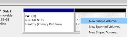 Click on New Simple volume to finish partitioning USB Flash drive