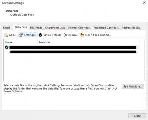 Outlook data file tab