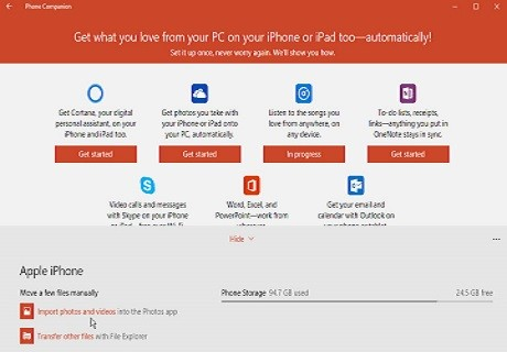 Sincronizar Windows 10 con iPhones, iPod o Android