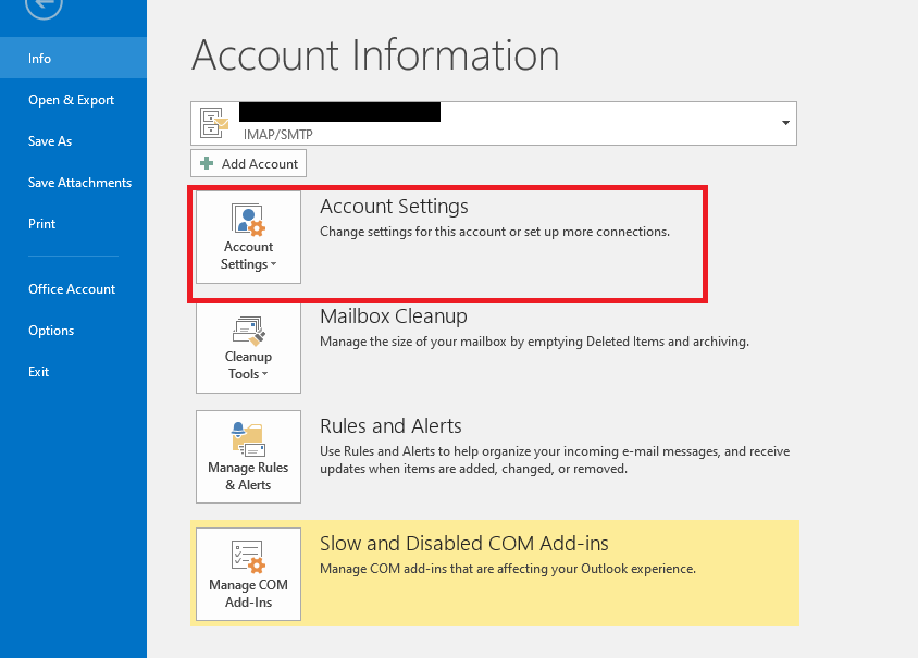 using account settings to fix the outlook not syncing error