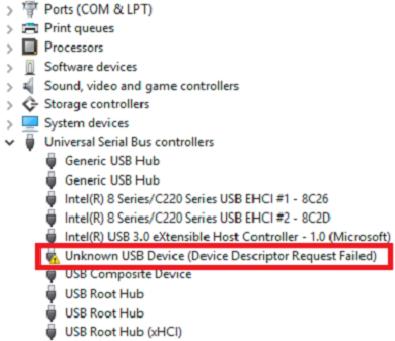 Fix unknown USB device (device descriptor request failed) in
