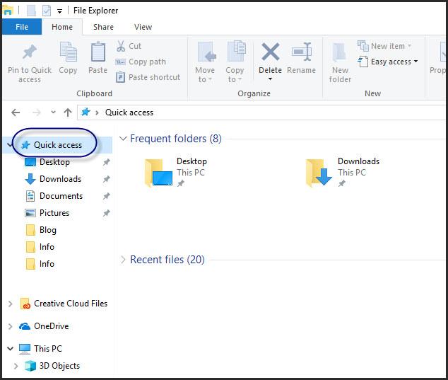 Files Missing from Windows 10 Quick Access- Solved