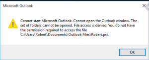 Error Outlook file access denied