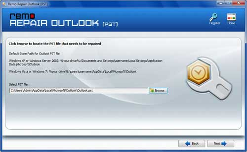 Remo Repair Outlook to extract email addresses