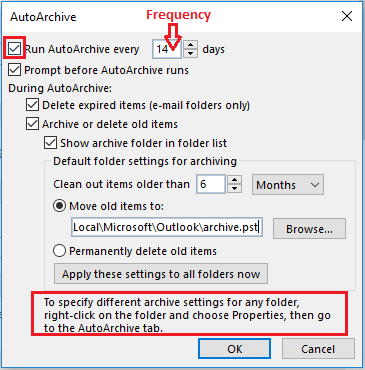 Auto Archive Settings