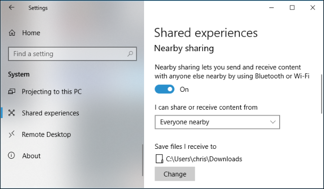 nearby share windows 10