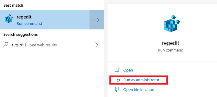run regedit as admin